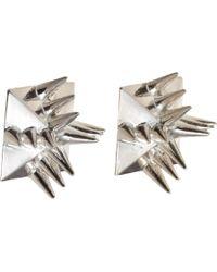 Fallon - Metallic Antique Silver Warrior Stud Earrings - Lyst