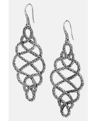 John Hardy | Metallic 'classic Chain' Large Braided Drop Earrings - Sterling Silver | Lyst