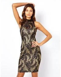 Lipsy - Metallic Lace Dress with Open Back - Lyst