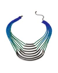 Material Girl - Multicolor Gunmetal Tone Rainbow Ombre Chain Necklace - Lyst