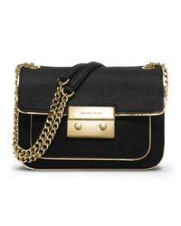 MICHAEL Michael Kors - Black Small Sloan Shoulder Flap Bag - Lyst