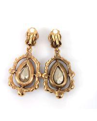 Oscar de la Renta - Purple Pear Cut Drop Earrings - Lyst