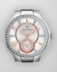 Philip Stein - Metallic Stainless Steel Diamond Bracelet 18mm - Lyst