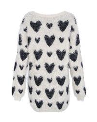 Quiz - Blue Fuzzy Knit Lurex Heart Jumper - Lyst