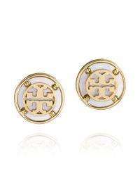 Tory Burch | Metallic Wren Logo Button Earrings | Lyst