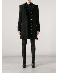 Balmain - Black Fur Trim Military Coat - Lyst