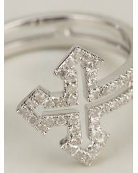 Elise Dray - Metallic Rolled Cross Ring - Lyst