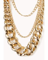 Forever 21 | Metallic Glam Layered Chain Necklace | Lyst