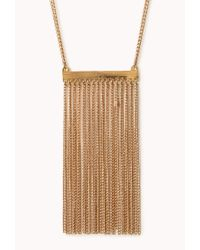 Forever 21 | Metallic Sleek Fringe Necklace | Lyst