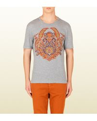 Gucci | Gray Cotton Jersey Tshirt with Paisley Print for Men | Lyst