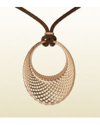 Gucci | Pink Rose Gold Diamantissima Pendant Necklace | Lyst