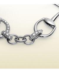Gucci - Horsebit Diamond Bracelet in White Gold - Lyst