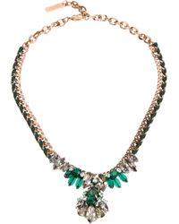 Rada' - Metallic Crystal Ribbon Chain Necklace - Lyst