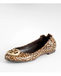 Tory Burch | Multicolor Saffiano Leopard Print Reva Ballet Flat | Lyst