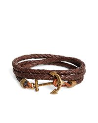 Brooks Brothers | Kiel James Patrick Brown Leather Rope Bracelet for Men | Lyst