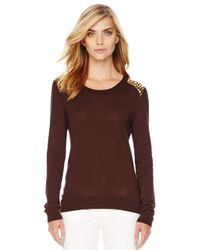 Michael Kors | Brown Studshoulder Knit Sweater | Lyst