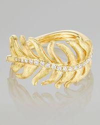 Mimi So - Metallic Phoenix 18k Yellow Gold Diamond Feather Ring - Lyst