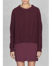 & Other Stories - Purple Wool Cable Knit Sweater - Lyst