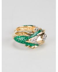 Roberto Cavalli - Green Double Dragon Ring - Lyst