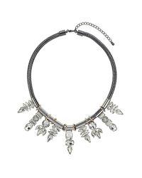TOPSHOP - Metallic Premium Nine Rhinestone Necklace - Lyst