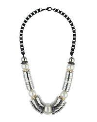 TOPSHOP - Natural Pearl and Cap Collar - Lyst