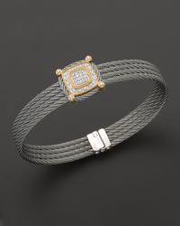 Charriol | Gray Classique Collection 18K Yellow Gold And Grey Stainless Steel Nautical Cable Diamond Bracelet | Lyst