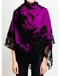 Janavi - Purple Lace and Cashmere Scarf - Lyst
