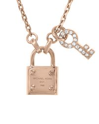 Michael Kors | Pink Lock and Pave Key Pendant Necklace 16"