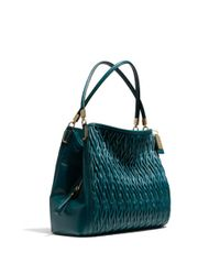 COACH | Green Madison Small Phoebe Shoulder Bag in Gathered Twist Leather | Lyst