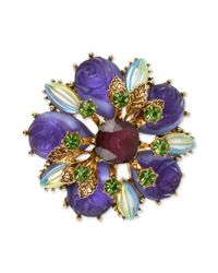 Betsey Johnson | Blue Antique Gold-Tone Carved Flower Bead Pin | Lyst
