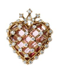 Betsey Johnson | Metallic Antique Goldtone Quilted Crystal Heart Pin | Lyst