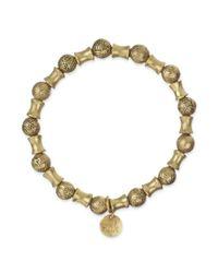The Sak | Metallic Goldtone Batik Design Bead Stretch Bracelet | Lyst