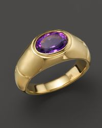 John Hardy | Metallic 18k Gold Bamboo Signet Ring With Amethyst | Lyst