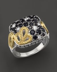 Lagos | Metallic Nightfall Black Spinel with Diamond Square Floral Ring in Sterling Silver and 18k Gold | Lyst
