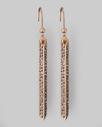 Rebecca Minkoff | Metallic Pave Crystal Bar Drop Earrings | Lyst