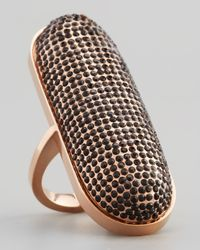 Rebecca Minkoff - Black Rose Golden Pave Crystal Id Ring - Lyst