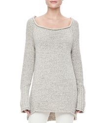Donna Karan - White Longsleeve Knit Sweater - Lyst
