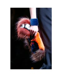 Fendi - Metallic Cuff Bracelet With Mink Fur - Lyst
