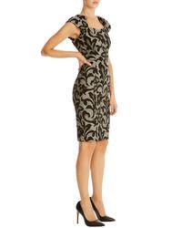 Karen Millen - Gray Jacquard Lace Effect Dress - Lyst