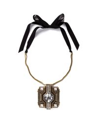 Lanvin | Metallic Square Pendant Necklace | Lyst