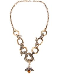 Alexander McQueen | Metallic Hexagon and Bee Skull Necklace | Lyst
