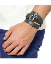Balenciaga - Green Wrapped Creased-Leather Bracelet for Men - Lyst