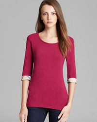 Burberry | Pink Brit Three Quarter Sleeve Check Tee | Lyst