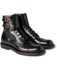 Gucci | Black Buckled Leather Boots for Men | Lyst