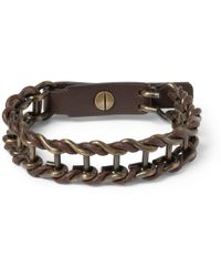 Lanvin | Brown Leather and Burnishedmetal Bracelet for Men | Lyst