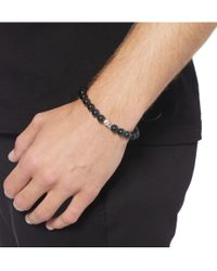 Paul Smith - Black Silver Skull and Glass Bead Bracelet for Men - Lyst
