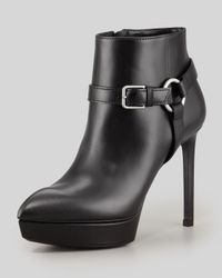 Saint Laurent   Black Leather Platform Harness Bootie   Lyst