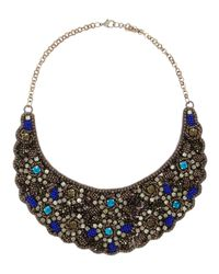 Deepa Gurnani - Black Bead Crystal Scalloped Bib Necklace - Lyst
