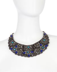 Deepa Gurnani - Black Bead Crystal Scalloped Bib Necklace - Lyst