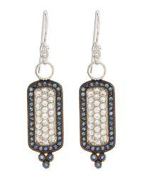 Jude Frances - White Blue Sapphire Cushion Earrings - Lyst